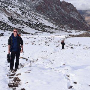 Snow trekking, mountains, snow