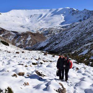 Mountains, snow, couple