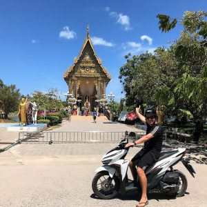 Motor biking, Temple, blue sky, statues, trees