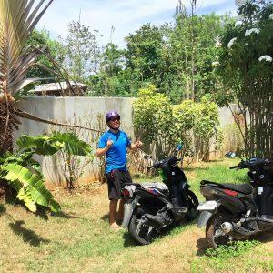 Motorbikes, A man posing, Trees, green grass, blue sky, palm trees