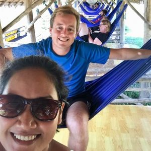 Luang Prabang Laos, beach, people in hammocks