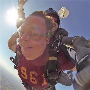 Skydiving, blue sky, sun