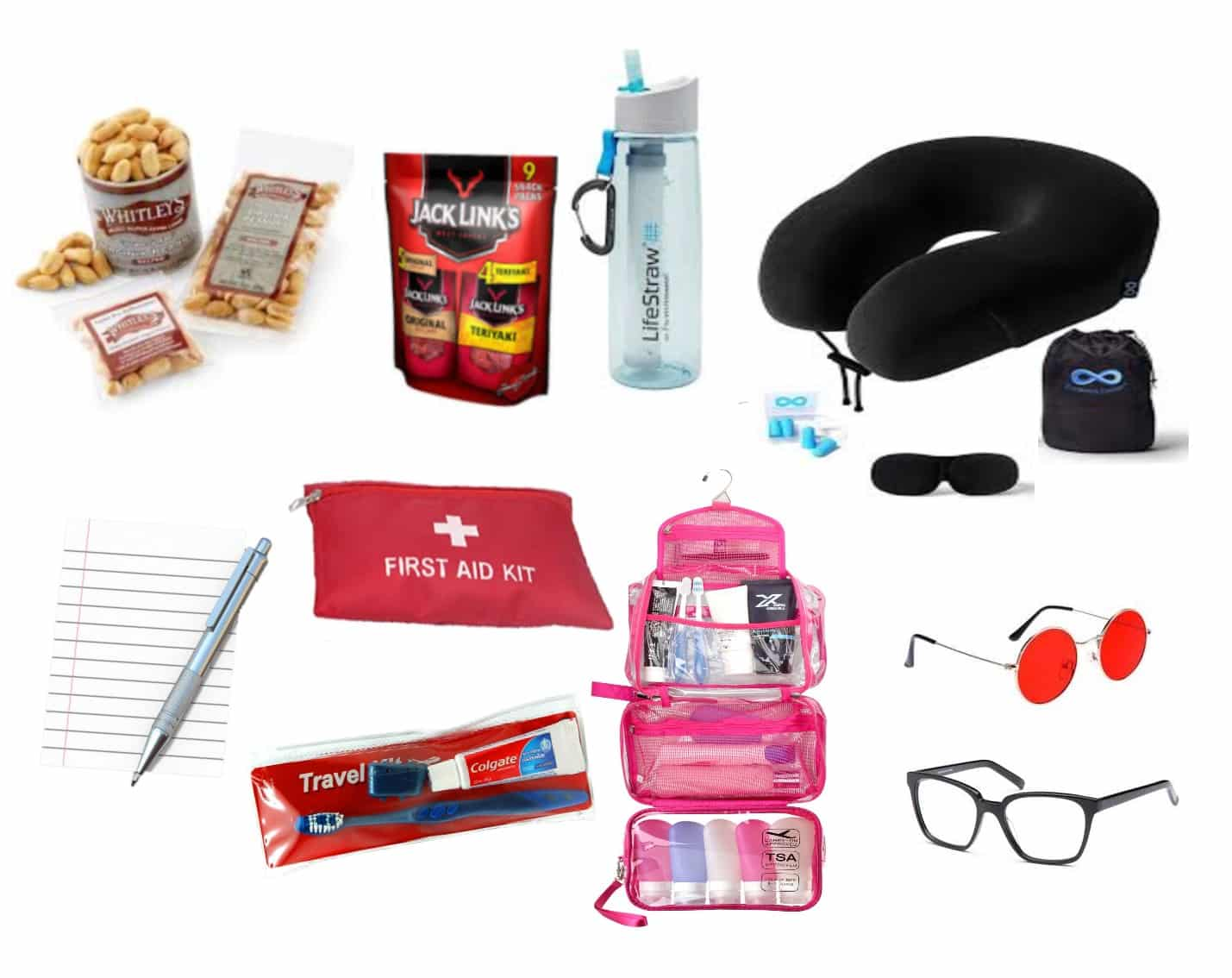 Snacks, Water Bottle, Neck pillow, Sleep asks, First Aid Kit, Ear Plugs, Jack Links, Toothbrush and Toothpaste, Hygiene Kit, Pen and Paper, Sunglasses, Reading Glasses