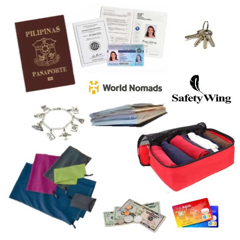 Passport, ID , Keys, World Nomads, Credit Cards ,Bracelet, Money, Safety wing