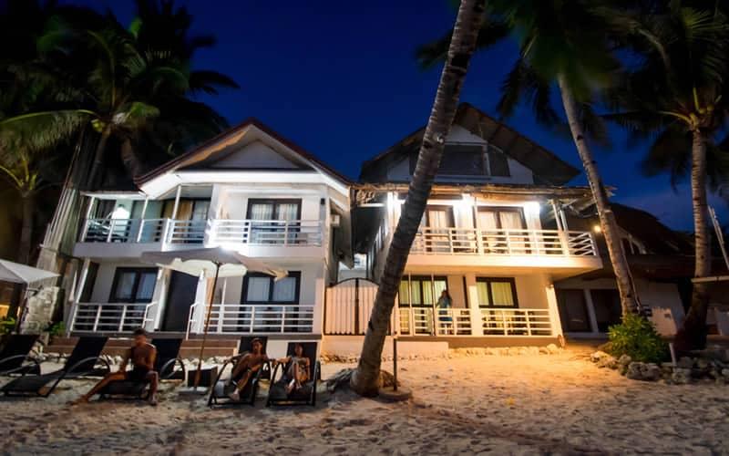 Beach House, Chairs, Coconut trees, Night Sky, White Sand