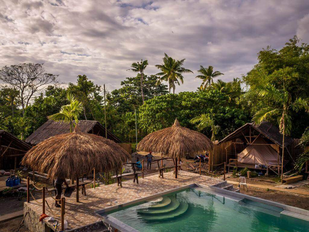 Clouds, Trees, Coconut Trees, Huts, Swimming Pool