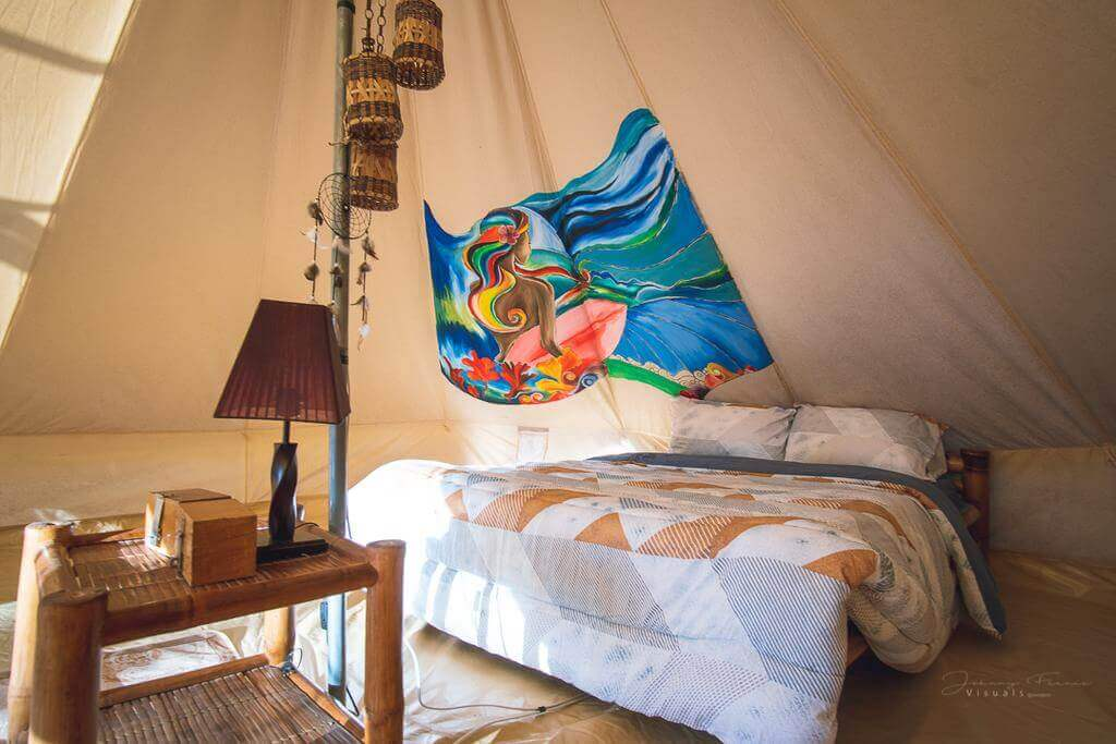 Tent Bedroom, Bed, Table, Lamp, Hanging Decorations