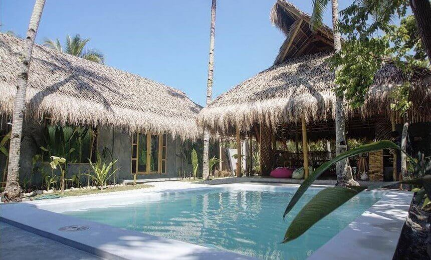 Blue sky, coconut trees, beach house, cottage, huts, plants, swimming pool