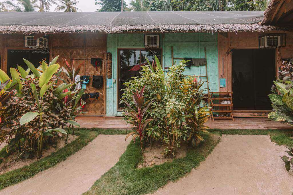 Mad Monkey House, Aircons, trees, Plants, green Gras, Coconut Trees