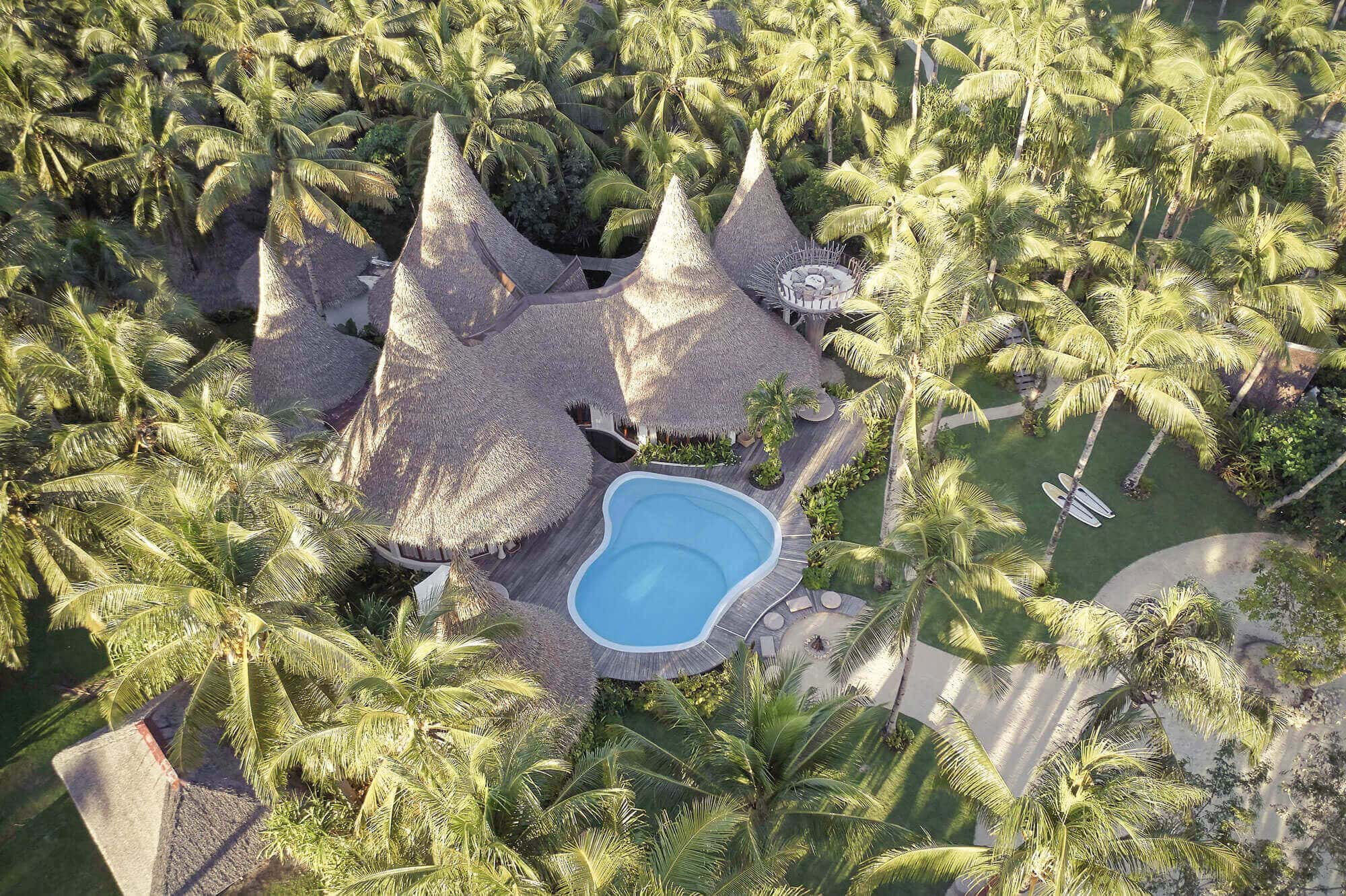 Coconut Trees, Aerial view of Nay Palad, Beach Houses, Swimming Pool