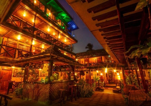 Puerto Pensions,Lights, Palm Trees, Plants, Bar