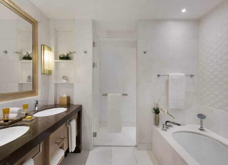 Bathroom, Bathtub, Sink, Mirror, Rolled Towels, Plants, Hygiene Kits