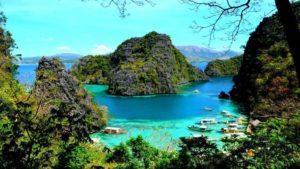 lake, island, trees, boats