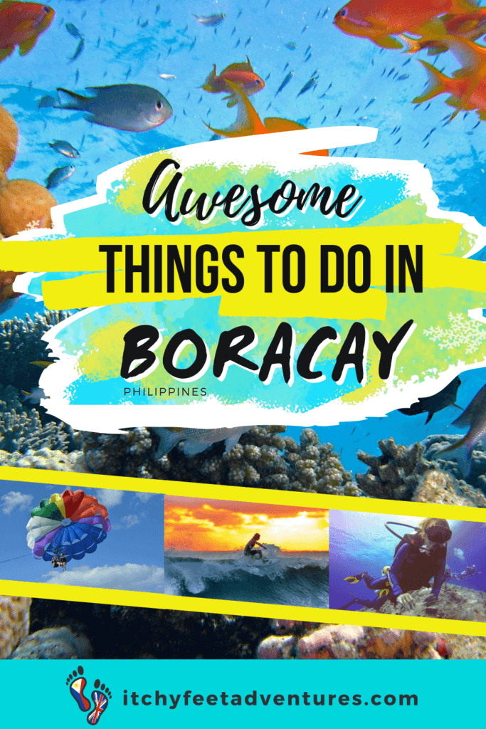 corals and fish, parasailing, diving, surfing in boracay