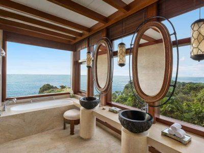 Ocean View, Bathroom, Bathtub, Sink, Mirror, Lamps, Rolled Towels, Mountains, Trees