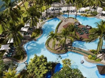 Sofitel Resort, Coconut Trees Ocean, Green Grass, Cottages, Swimming Pool, Chairs